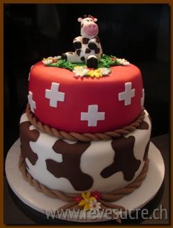 Gateaux vache - Decoration gateau suisse ...